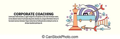 訓練, 概念, ビジネス, スペース, 企業である, コーチ, 横, コピー, 旗