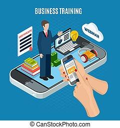 訓練, 概念, 等大, ビジネス, webinar
