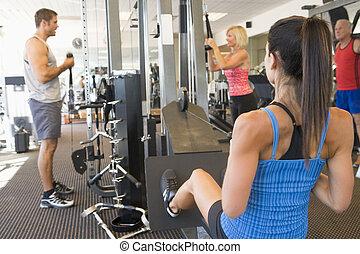 訓練, 組, 體操, 重量, 人們