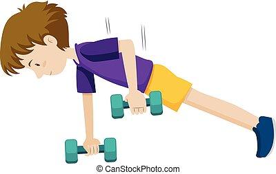 訓練, 若い, 重量, 人