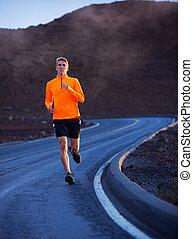 訓練, 運動, ジョッギング, 動くこと, outdoors., 外, 道, 人