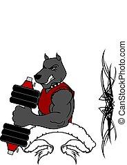 訓練, 重量, ジム, 犬, フィットネス, 筋肉, 漫画