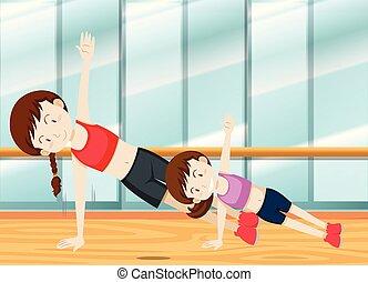 訓練, daugther, 重量, 母