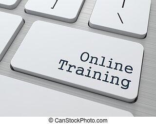 訓練, keyboard., -, ボタン, オンラインで