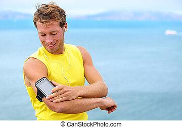 訓練, smartphone, ランナー, app, -, 動くこと, 音楽