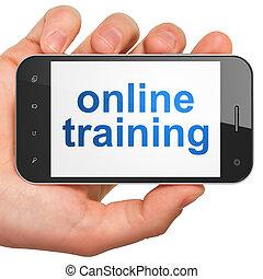 訓練, smartphone, 教育, concept:, オンラインで