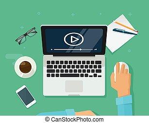 訓練, webinar, コンピュータ, e 勉強, オンラインで, 概念, 仕事場, 教育