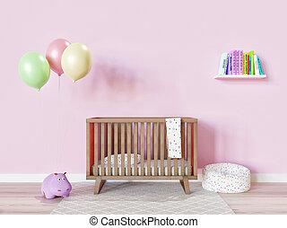 託児所, 赤ん坊, minimalistic, 単純である, 装飾, 部屋, 女の子
