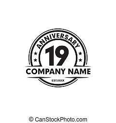 記念日, テンプレート, 第19, 年, デザイン, ロゴ, ベクトル