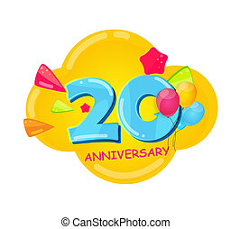 記念日, 漫画, テンプレート, 20年, かわいい, イラスト