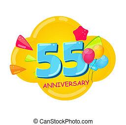 記念日, 漫画, テンプレート, 55, 年, かわいい, イラスト