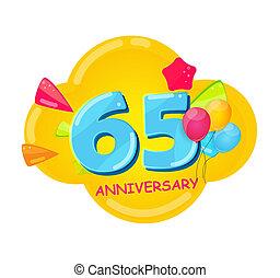 記念日, 漫画, テンプレート, 65, 年, かわいい, イラスト