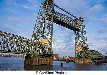 記念碑のようである, rotterdam, 鉄, 橋, 持ち上がること