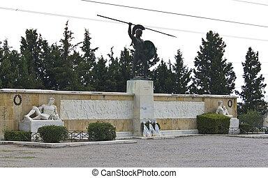 記念碑, ギリシャ, leonidas, 像, thermopyles