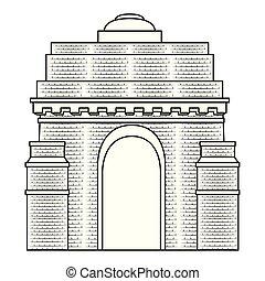 記念碑, 門, indian, アーチ, アイコン