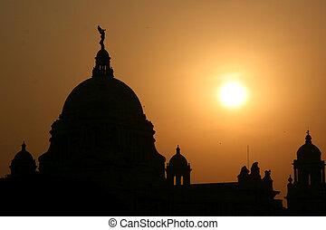 記念, インド, シルエット, カルカッタ, ビクトリア