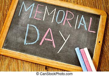 記念, テキスト, チョーク, 書かれた, 黒板, 日