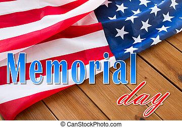 記念, 上に, 旗, アメリカ人, 木, 言葉, 日
