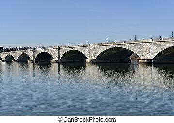 記念, 橋, 中に, washington d.c.