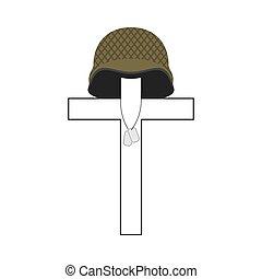 記念, badge., soldier., 交差点, イラスト, 兵士, 愛国心が強い, 軍, helmet., 墓