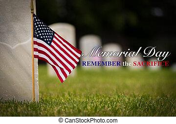 記念, cemetary, 国民, -, アメリカ人, 日, 旗, 小さい, ディスプレイ