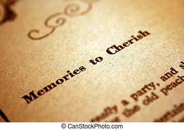 記憶, から大切にしなさい