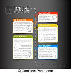記述的である, タイムライン, 暗い, infographic, テンプレート, レポート, 泡