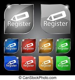 記録, 印, icon., 会員, シンボル。, ウェブサイト, navigation., セット, の, 有色人種,...