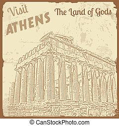 訪問, アテネ, ∥, 土地, の, 神, ポスター