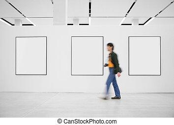 訪客, 在, an, 展覽