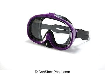 設備, 為, snorkeling, -, 潛水面具, 在懷特上, 背景