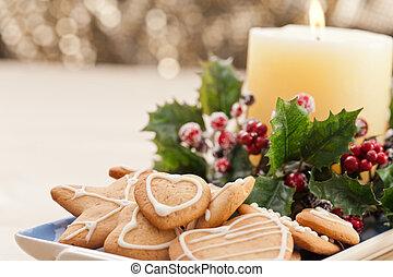設定, クリスマス, お祝い, 不足分, bread, クッキー