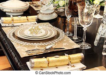 設定, クリスマス, テーブル