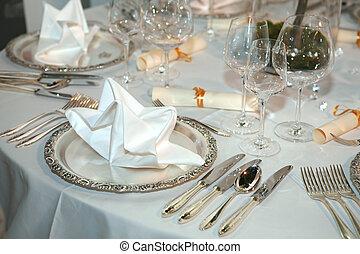 設定, 優雅である, テーブル