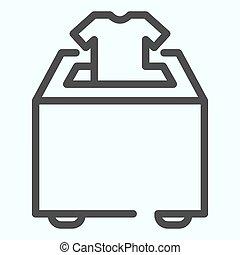 設計された, 寄付しなさい, icon., app., イラスト, eps, ベクトル, デザイン, 寄付, アウトライン, 網, white., 箱, 衣服, 10., 線, パッティング, 隔離された, スタイル