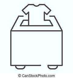 設計された, 寄付しなさい, icon., app., イラスト, eps, ベクトル, デザイン, 寄付, アウトライン, 網, white., 箱, 衣服, 10., 薄いライン, パッティング, 隔離された, スタイル