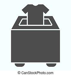 設計された, 寄付しなさい, icon., app., イラスト, eps, ベクトル, glyph, デザイン, 寄付, 網, white., 箱, 衣服, 10., 固体, パッティング, 隔離された, スタイル