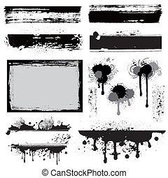 設計元素, 為, grunge, 墨水