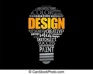 設計, 光, 拼貼藝術, 詞, 雲, 燈泡