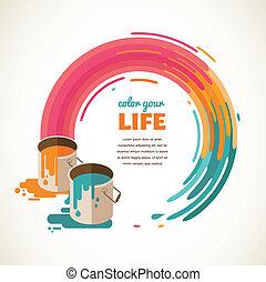 設計, 創造性, 想法, 以及, 顏色, 概念