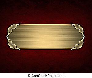 設計, 樣板, -, 紅色, 結構, 由于, 金, 名稱盤子, 由于, 金, trim.
