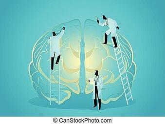 診断しなさい, 概念, チーム, brain., 人間, 医者, 神経科医