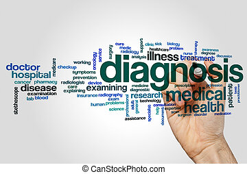 診断, 単語, 雲, 概念, 上に, 灰色, 背景