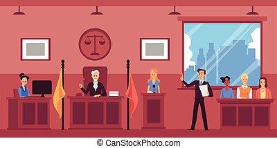 証人, 尋問すること, illustration., 平ら, システム, ベクトル, 司法, 弁護士