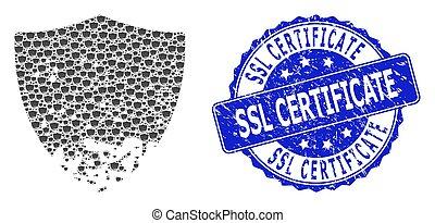 証明書, ラウンド, recursive, 切手, 保護, ssl, 傷つけられる, アイコン, 苦脳, 構成, シール
