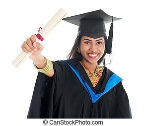 証明書, 彼女, 提示, 卒業証書, 卒業生, indian, 学生
