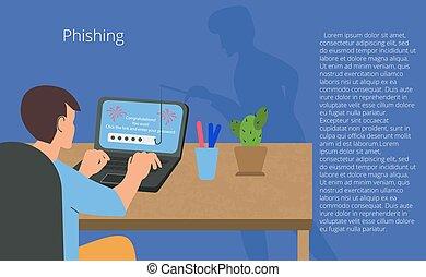 詐欺, 攻撃, concept., fraudster., 男コンピュータ, ベクトル, 詐欺, ハッカー, 盗み, オンラインで, 網, イラスト, セキュリティー, 若い, phishing