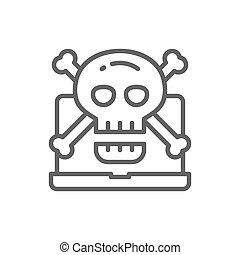 詐欺, 頭骨, phishing, シンボル, コンピュータ, 線, ウイルス, icon., crossbones