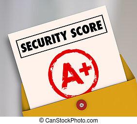 評価, 偉人, 安全である, スコア, プラス, レポート, 安全, セキュリティー, カード