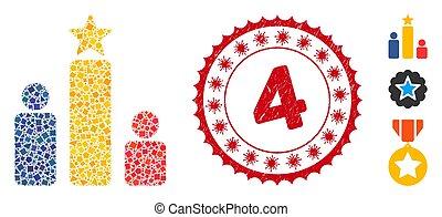 評価, 小片, 社会, コラージュ, coronavirus, 切手, 荒い, グランジ, 4, アイコン
